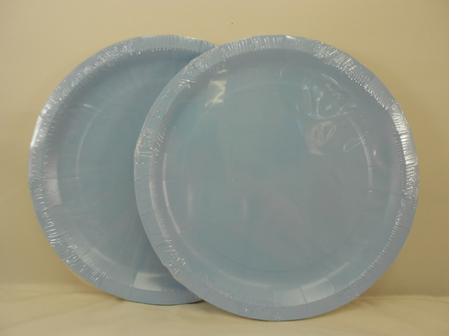 S5541: 12Pk 9 Inch Light Blue Paper Plates