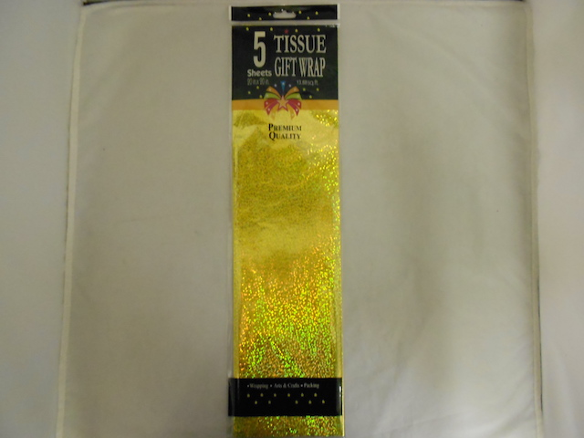S1418: 5Pk Gold Hologram Foil Tissue Wrap