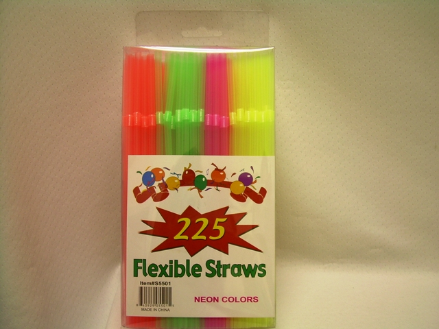 S5501: 225Pk Assorted Neon Flexible Straws in Box