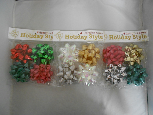 S7481: 4Pk 4 Inch Bows Assorted Holiday Colors
