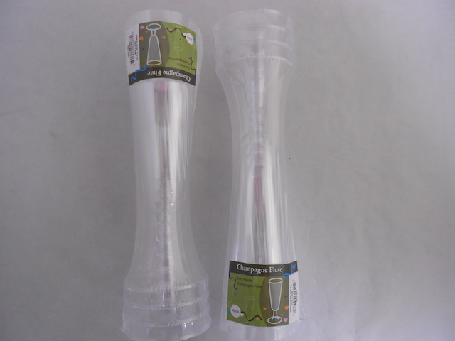 S5586: 4Pk Clear Plastic Champagne Flutes