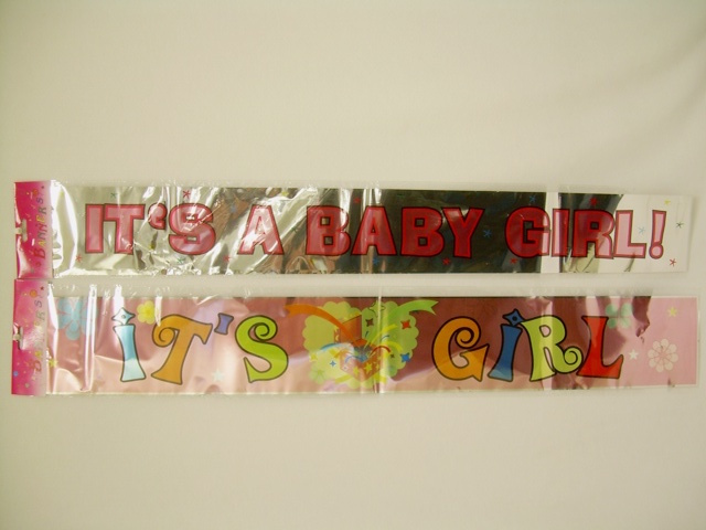 "S1940: Assorted ""It's a Girl"" Metallic Banner"