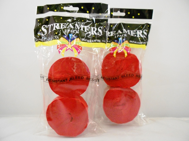 S1441: 2Pk Red Party Streamers
