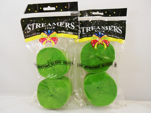 S1442: 2Pk Lime Green Party Streamers
