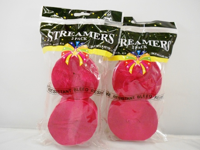 S1470: 2Pk Hot Pink Party Streamers