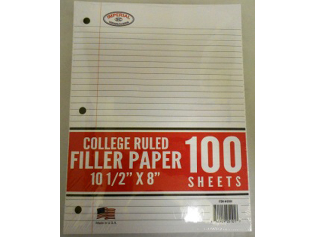 S5101: 100 Sheet College Ruled Filler Paper