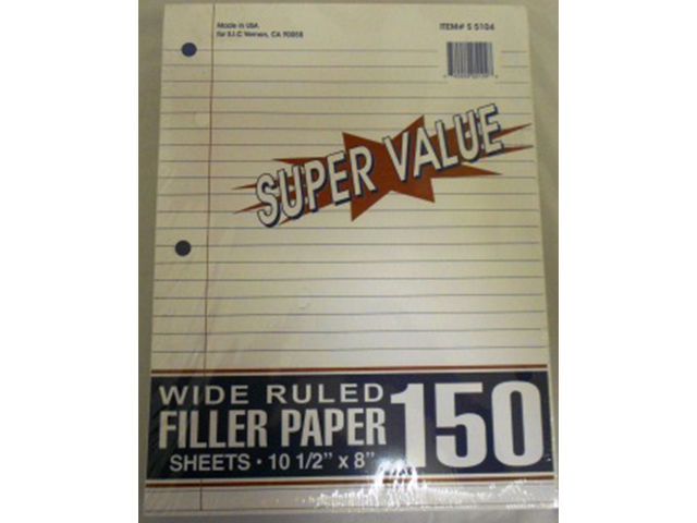S5104: 150 Sheet Wide Ruled Filler Paper