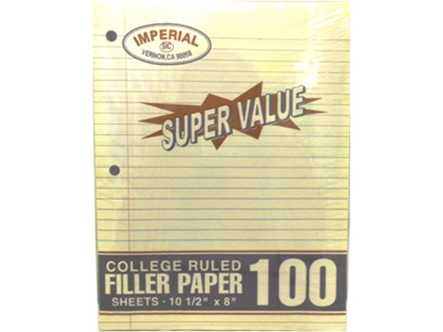 S5102: 100 Sheet Wide Ruled Filler Paper