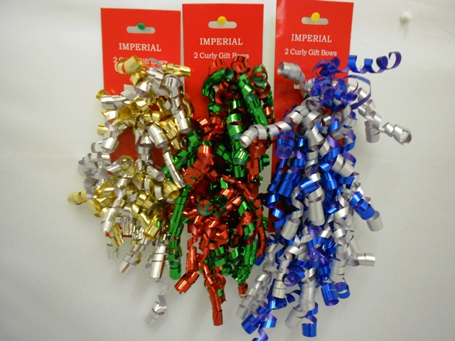 S7457: 2Pk Curly Bows Holiday Colors