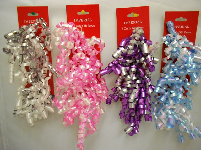 S7458: 2Pk Curly Bows Assorted Daily Colors