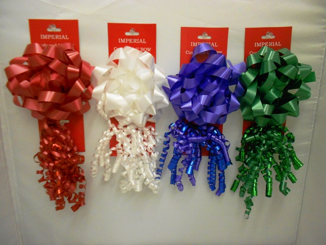 S7459: 2Pk Bow & Curly Bow Holiday Colors