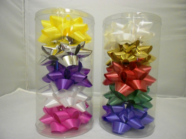 S7463: 5Pk 4 Inch Bows Assorted Holiday Colors