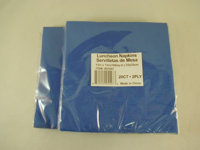 S5547: 20Pk 13 Inch Blue 2-Ply Napkins