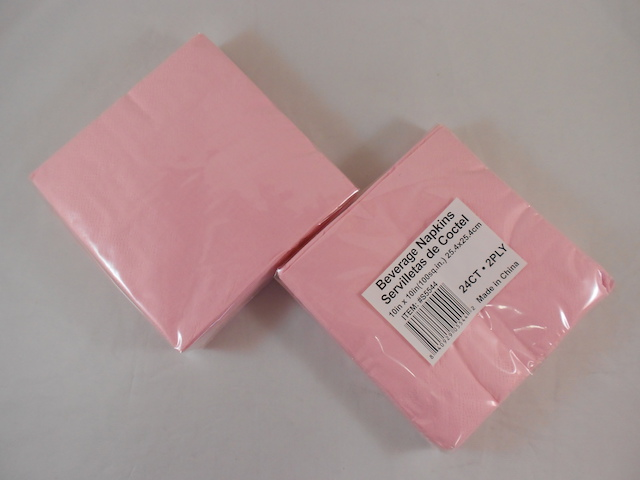 S5544: 24Pk 10 Inch Light Pink 2-Ply Napkins